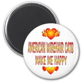 American Wirehair Cat 2 Inch Round Magnet
