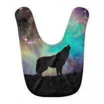 American wolf - wolf design - silhouette wolf baby bib