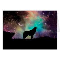 American wolf - wolf design - silhouette wolf card