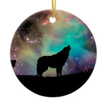 American wolf - wolf design - silhouette wolf ceramic ornament
