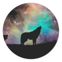 American wolf - wolf design - silhouette wolf classic round sticker