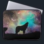 "American wolf - wolf design - silhouette wolf laptop sleeve<br><div class=""desc"">Northern Lights, howlin wolf , wolf art , dark wolf, wild wolf , wolf painting , wolf illustration , wildlife animals animal night , lupus predator alaska galaxy , beast forest mammals nature , </div>"