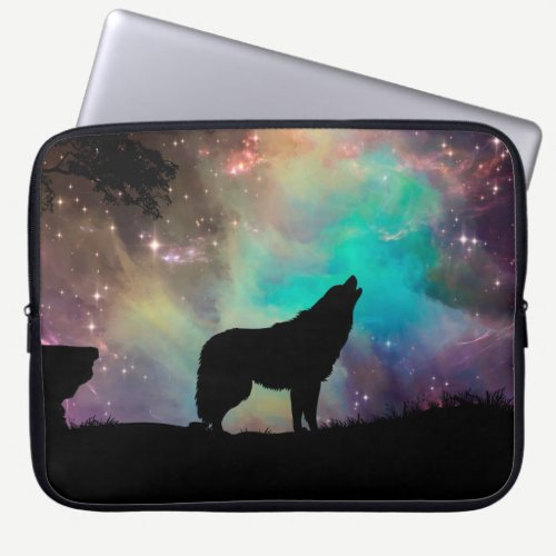 American wolf - wolf design - silhouette wolf laptop sleeve