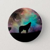 American wolf - wolf design - silhouette wolf pinback button