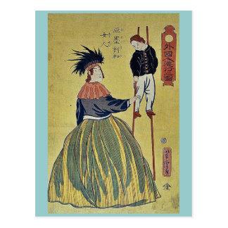 American woman by Utagawa,Yoshitora Postcard