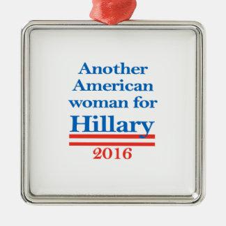 American Woman for Hillary Clinton Silver-Colored Square Ornament