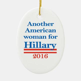 American Woman for Hillary Clinton Ceramic Oval Ornament