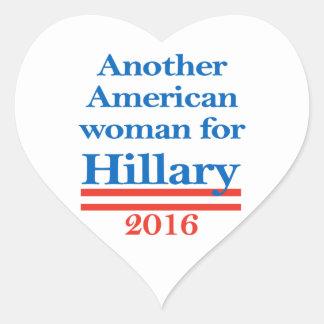 American Woman for Hillary Clinton Heart Sticker