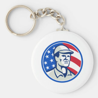 American Worker Stars and Stripes Flag Retro Basic Round Button Keychain
