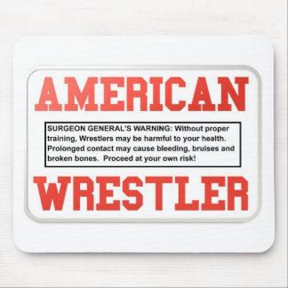 american Wrestler warning Mouse Pads