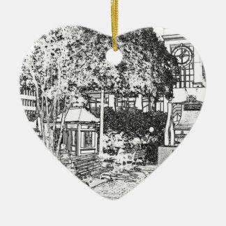 Americana Black and White Small Town Square 2 Ceramic Ornament