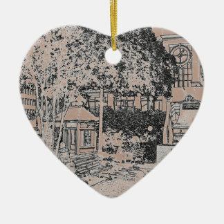 Americana Black and White Small Town Square 3 Ceramic Ornament