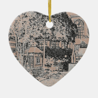 Americana Black and White Small Town Square 3 Christmas Tree Ornament