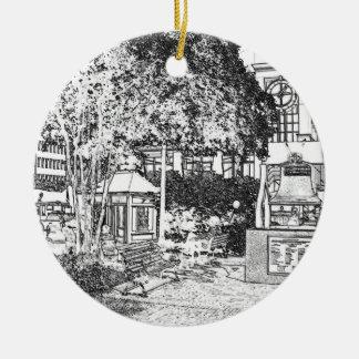 Americana Black and White Small Town Square Ceramic Ornament