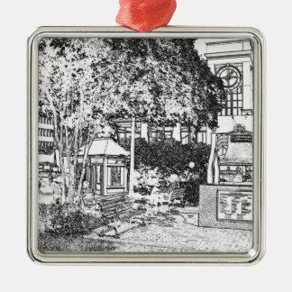 Americana Black and White Small Town Square Metal Ornament