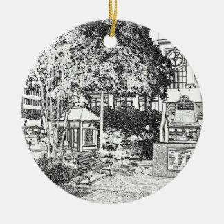 Americana Black and White Small Town Square Christmas Tree Ornament