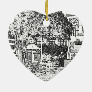 Americana Black and White Small Town Square Christmas Ornaments