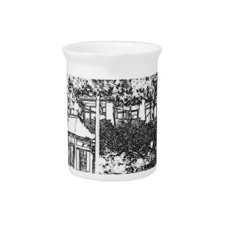 Americana Black and White Small Town Square Pitcher