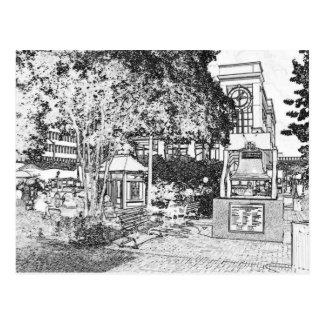 Americana Black and White Small Town Square Postcard