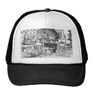 Americana Black and White Small Town Square Trucker Hat
