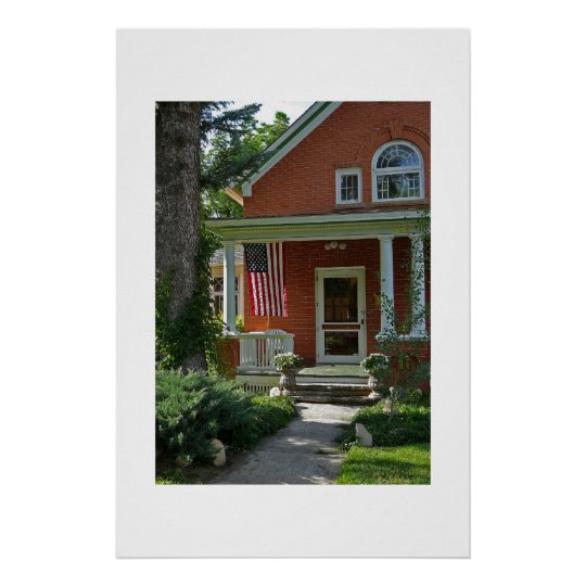 Americana - classic house on 4th of July Poster