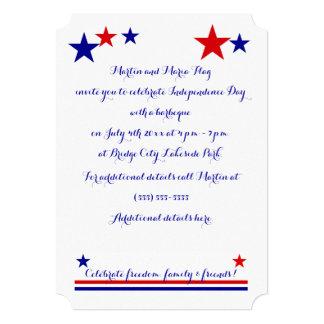 "Americana Flag Log Cabin Customizable 5"" X 7"" Invitation Card"