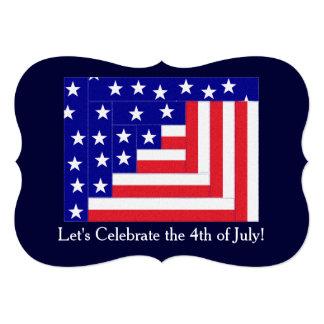 Americana Flag Log Cabin Pattern Patriotic Card