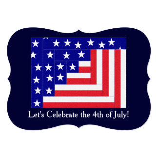 Americana Flag Log Cabin Pattern Patriotic Custom Invites