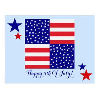 Americana Flag Patchwork Pattern Patriotic Postcard
