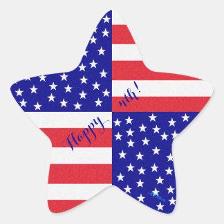 Americana Flag Patchwork Pattern Patriotic Star Sticker