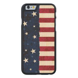 Americana Folk Stars & Stripes Patriotic Carved Maple iPhone 6 Slim Case