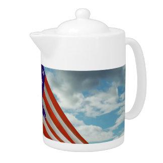 Americana - Fort Hood TX - Unfolding the flag 1944 Teapot