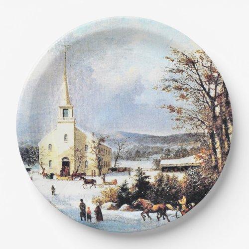 Americana Going to Church Horse Sleigh Paper Plate
