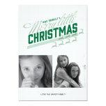 Americana Green Reindeer Holiday Photo Card