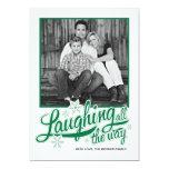 Americana Green Snowflake Holiday Photo Card Personalized Invitation