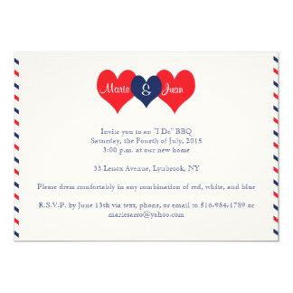 Americana Hearts Wedding Marie Juan v2 5x7 Paper Invitation Card