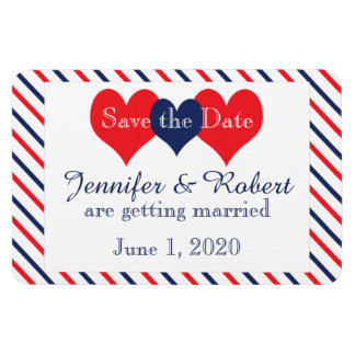 Americana Hearts Wedding Save the Date Rectangular Photo Magnet