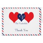 Americana Hearts Wedding Thank You Card