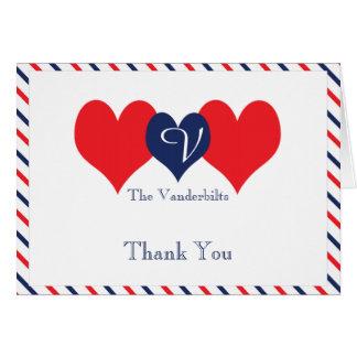 Americana Hearts Wedding Thank You Stationery Note Card