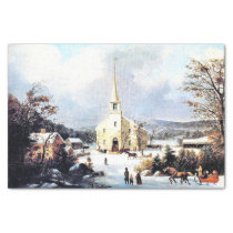 Americana Horse Sleigh Church Snow Tissue Paper