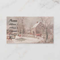 Americana Horse Sleigh Farm Animals Business Card