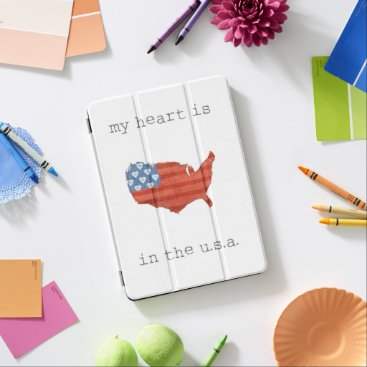 USA Themed Americana | My Heart Is In The USA Map iPad Air Cover