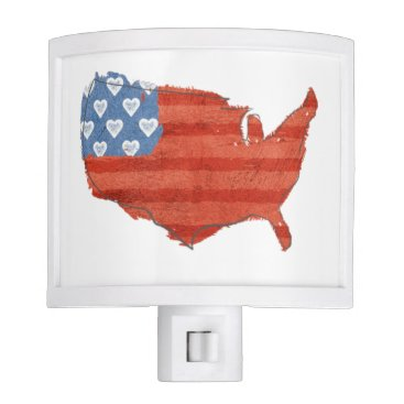 USA Themed Americana | My Heart Is In The USA Map Night Light