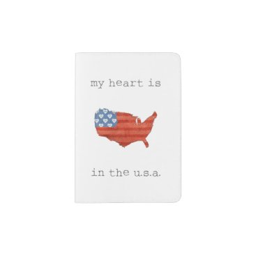 USA Themed Americana | My Heart Is In The USA Map Passport Holder