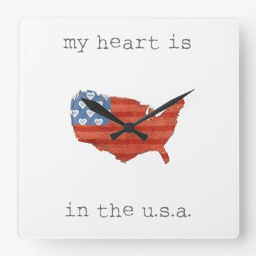 USA Themed Americana | My Heart Is In The USA Map Square Wall Clock