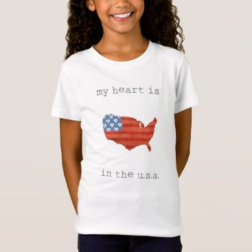 USA Themed Americana | My Heart Is In The USA Map T-Shirt