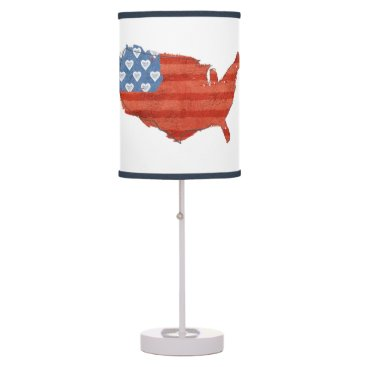 USA Themed Americana | My Heart Is In The USA Map Table Lamp