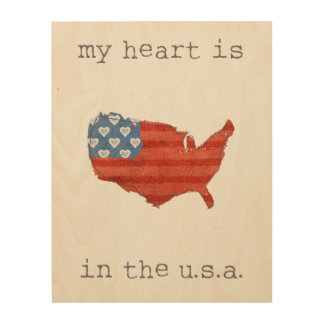 Americana | My Heart Is In The USA Map Wood Wall Art