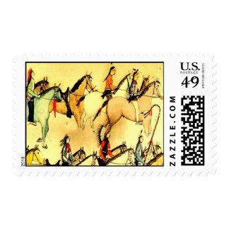 Americana occidental de los caballos de los indios sellos