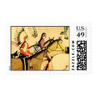 Americana occidental de los caballos de los indios sello